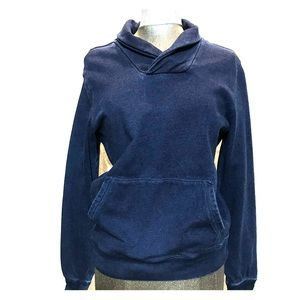 Indigo pullover with pockets and elbow patches.